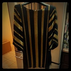 Alice and Olivia Black and Gold Beaded Dress